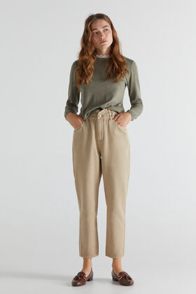 Cortefiel Elasticated waistband 'Mom' trousers Brown