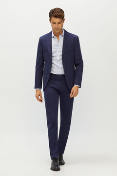 Cortefiel Slim fit cotton and linen suit blazer Navy