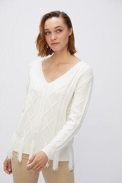 Cortefiel Cable knit fringed jumper Ecru