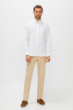 Cortefiel Slim fit linen trousers Camel
