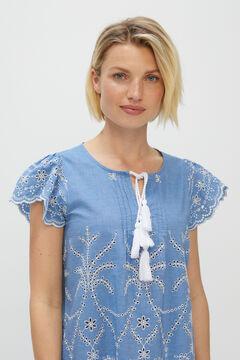 Cortefiel Embroidered denim top Blue