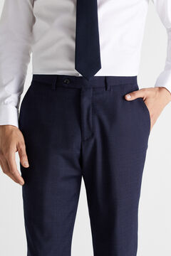 Cortefiel Slim fit checked trousers Royal blue