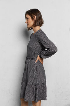Cortefiel Flounced jersey-knit dress Black