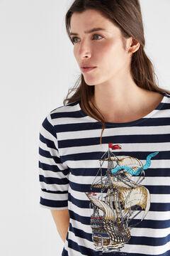 Cortefiel Organic cotton breton t-shirt Blue