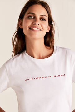 Cortefiel Embroidered text t-shirt White