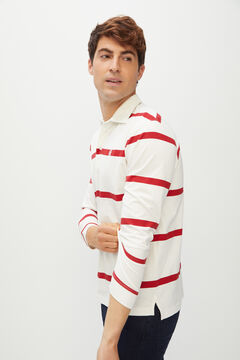 Cortefiel Long-sleeved polo shirt Ecru