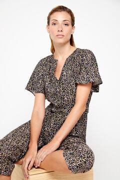 Cortefiel Printed short-sleeved jumpsuit Blue