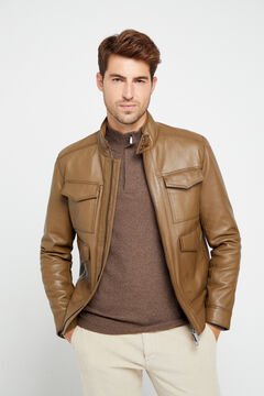Cortefiel Nappa leather jacket  Stone