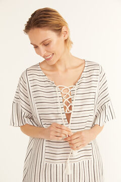 Cortefiel Striped tunic kaftan Ecru