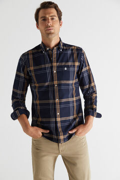 Cortefiel Checked organic cotton Oxford shirt Navy