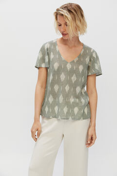 Cortefiel T-shirt with cape sleeves Green