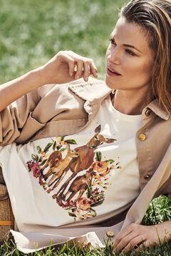 Cortefiel Printed sleeveless t-shirt Natural