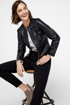 Cortefiel Leather jacket with stitching Black