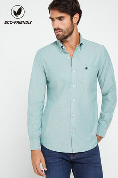 Cortefiel Plain organic cotton Oxford shirt Pistachio green