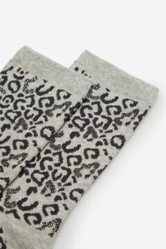 Cortefiel Leopard print long socks Gray