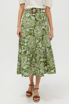 Cortefiel Printed midi skirt Green