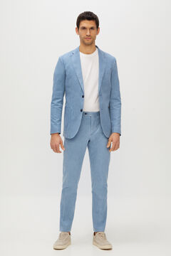 Cortefiel Slim fit cotton and linen suit trousers Blue