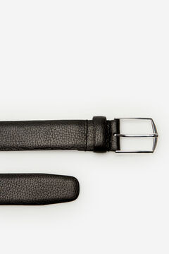 Cortefiel Embossed leather belt Black