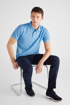 Cortefiel Essential short-sleeved polo shirt Royal blue