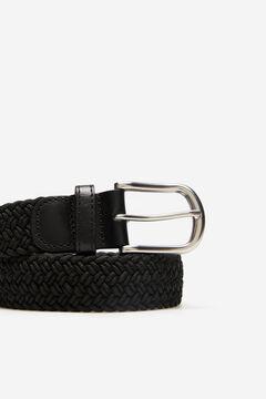 Cortefiel Woven fabric belt Black