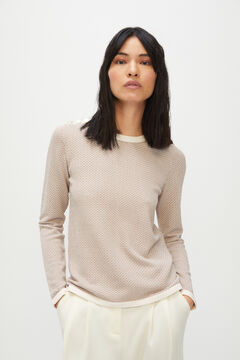 Cortefiel Micro jacquard jumper with buttons Vanilla