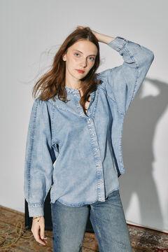 Cortefiel Shirt in 100% lyocell denim Royal blue