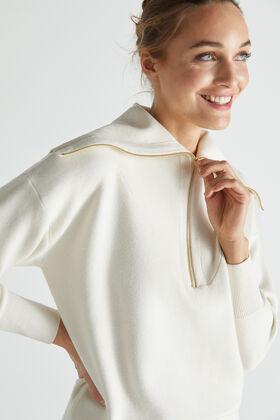 Cortefiel Zipped jersey-knit sweatshirt Ecru