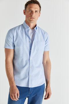 Cortefiel Short-sleeved end-on-end shirt Blue