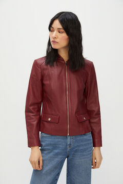 Cortefiel Leather jacket central zip Red garnet