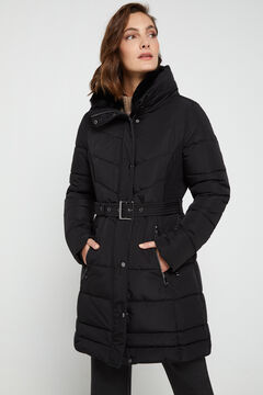 Cortefiel Long quilted belted anorak Black