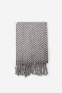 Cortefiel Medium herringbone textured scarf Gray