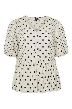Cortefiel Camisa de bolinhas curvo Beige