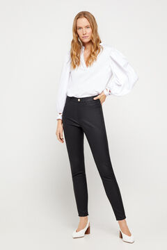 Cortefiel Faux leather sensational jeggings Black