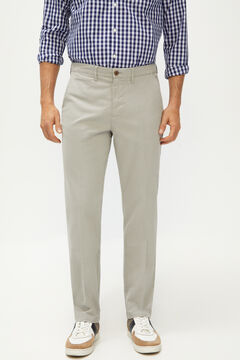 Cortefiel Textured regular fit trousers with elasticated waist Gray
