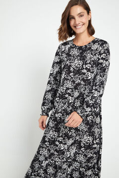 Cortefiel Flounced jersey-knit dress Black