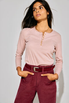 Cortefiel Top with buttons Pink