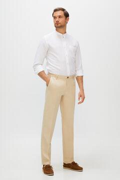 Cortefiel Regular fit linen trousers Camel