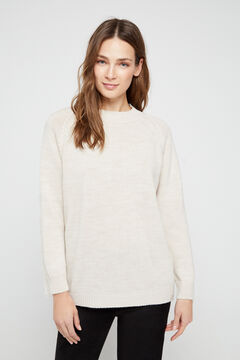 Cortefiel Long-sleeved jumper with tassels Ecru