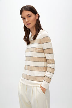 Cortefiel Striped jumper with buttons Ecru
