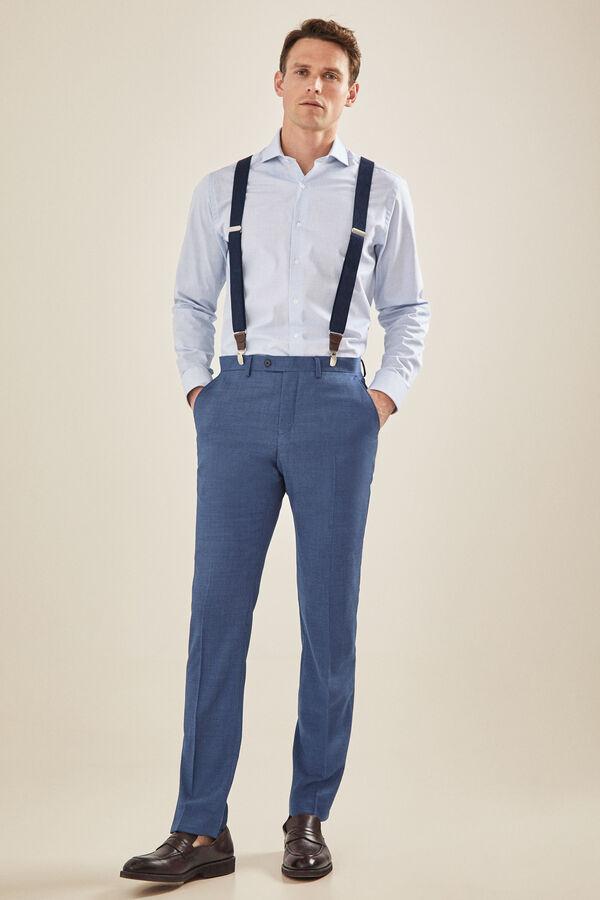5f46796d47059 Cortefiel Pantalón traje azul grisáceo tailored fit Azul
