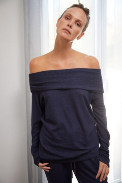 Cortefiel Soft feel bardot neckline top Navy