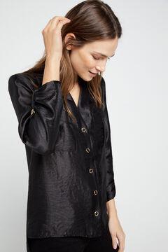Cortefiel Lamé shirt Black
