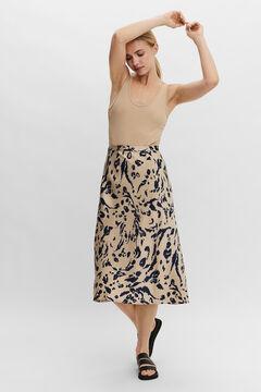 Cortefiel Printed skirt Tobaco