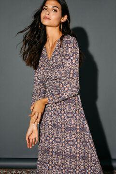 Cortefiel Printed dress Blue
