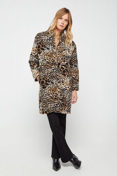 Cortefiel Long animal print coat Pink