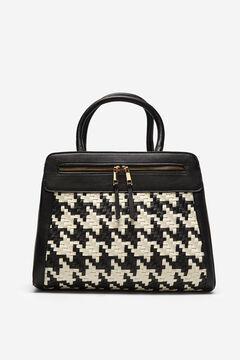 Cortefiel Houndstooth shopper bag Black