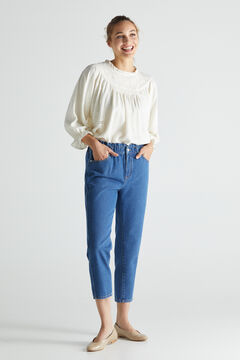 Cortefiel Elasticated waistband 'Mom' trousers Bluejeans
