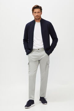 Cortefiel Slim fit cargo trousers  Gray