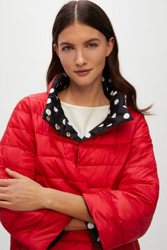 Cortefiel Reversible quilted jacket Red garnet