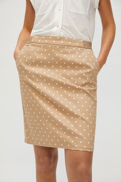 Cortefiel Straight skirt with elasticated waist Beige